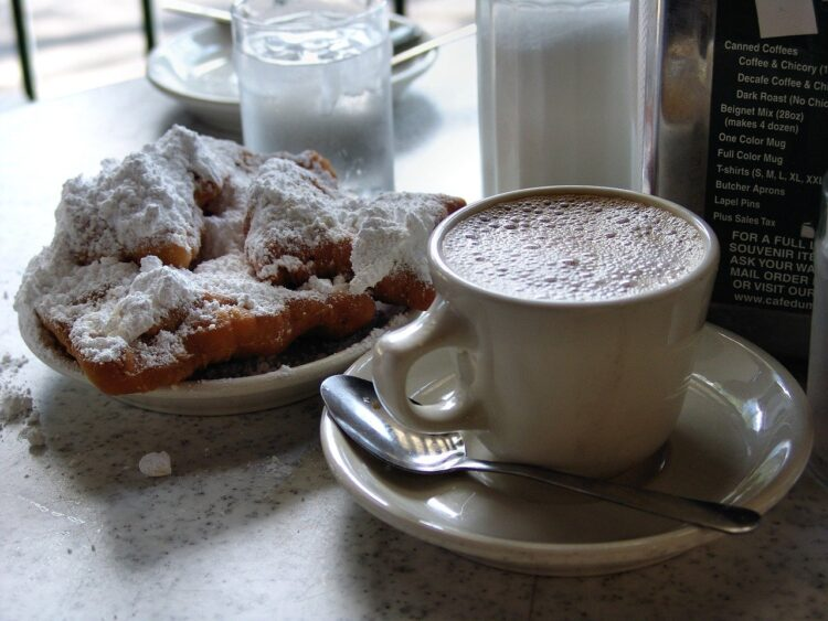 Chicory coffee and beignets at the Cafe Du Mond in New Orleans