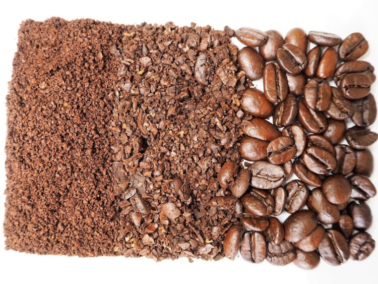 coffee beans and different grinds
