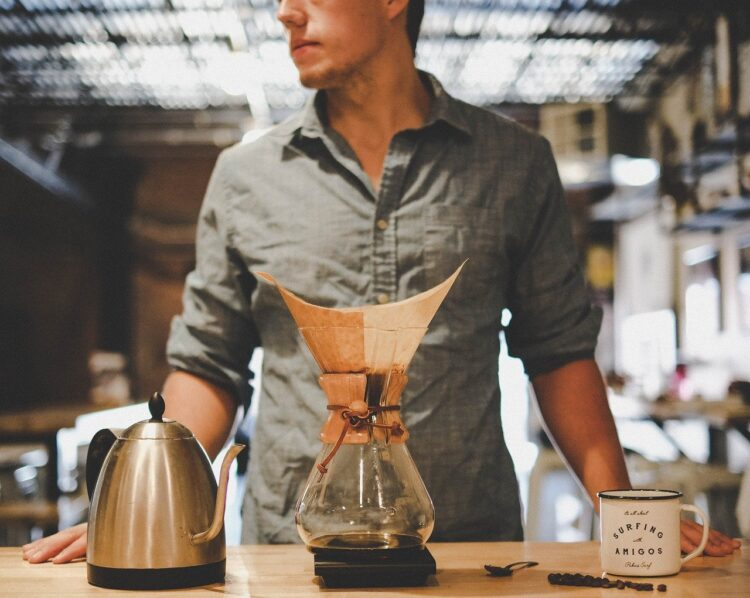 pour over coffee and a chemex
