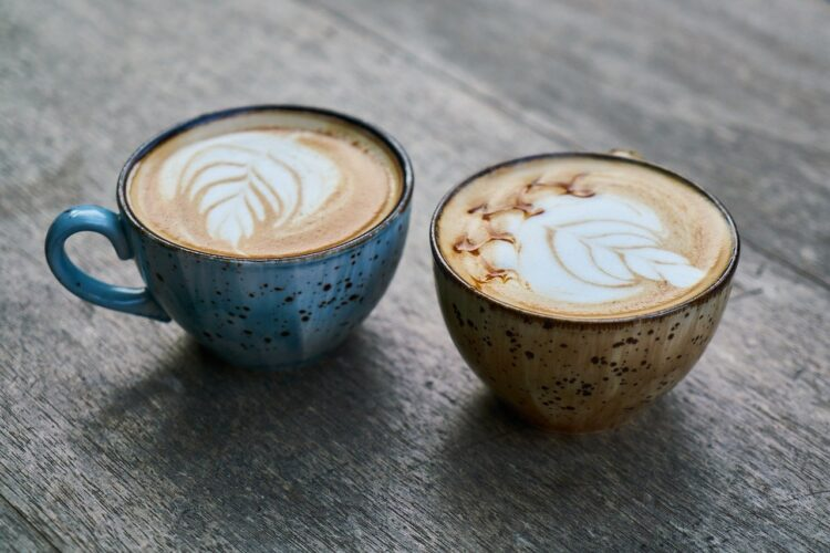 coffee cups with latte art
