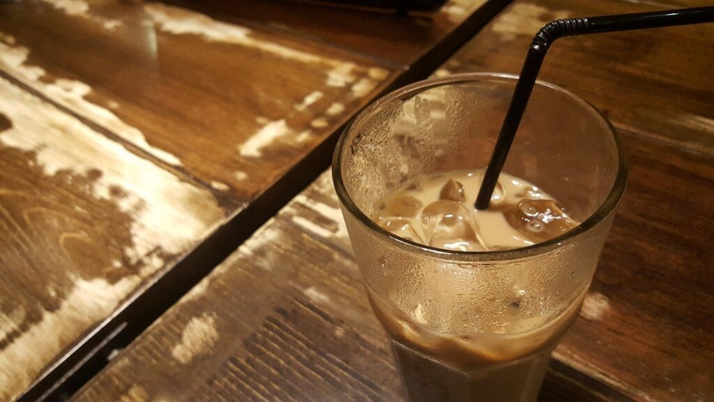 ice coffee with a straw