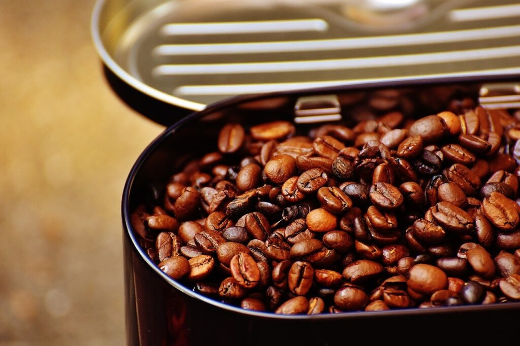 coffee beans in a canister