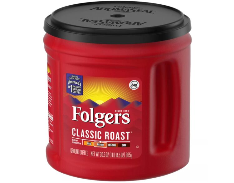 cannister of folgers coffee classic roast