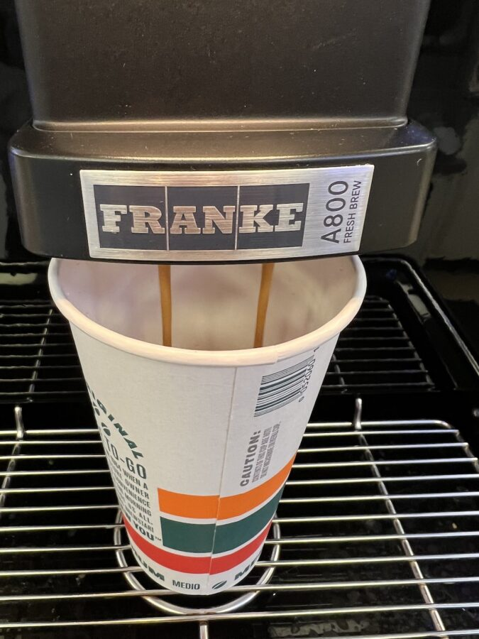 7-11 uses the Franke A800 Fresh Brew machine for their bean to cup coffee