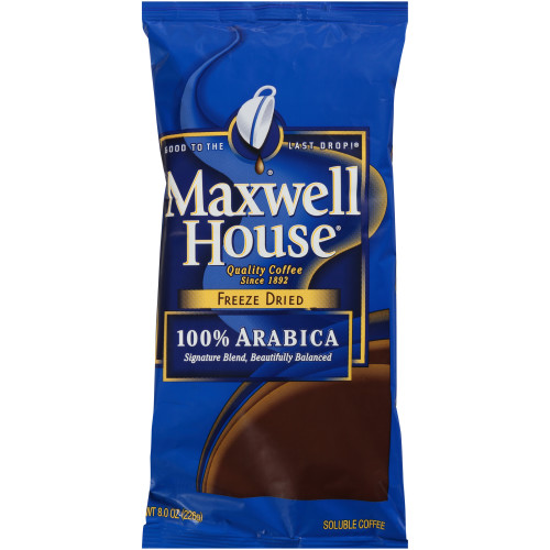 Maxwell House coffee slogan is good to the last drop and appears on the package