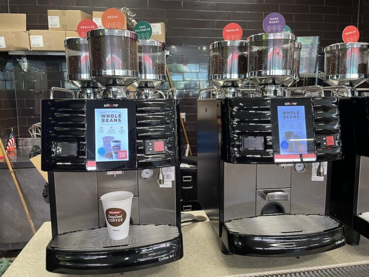 racetrac individual brew coffee machines in action